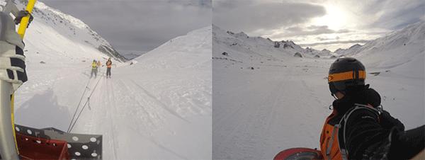 Till vanster. Skidakare dras till hytten bakom en snoskoter.  Till hoger. Vagen hem pa snowboard.