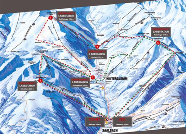 Karta over de olika routena i Saalbach.